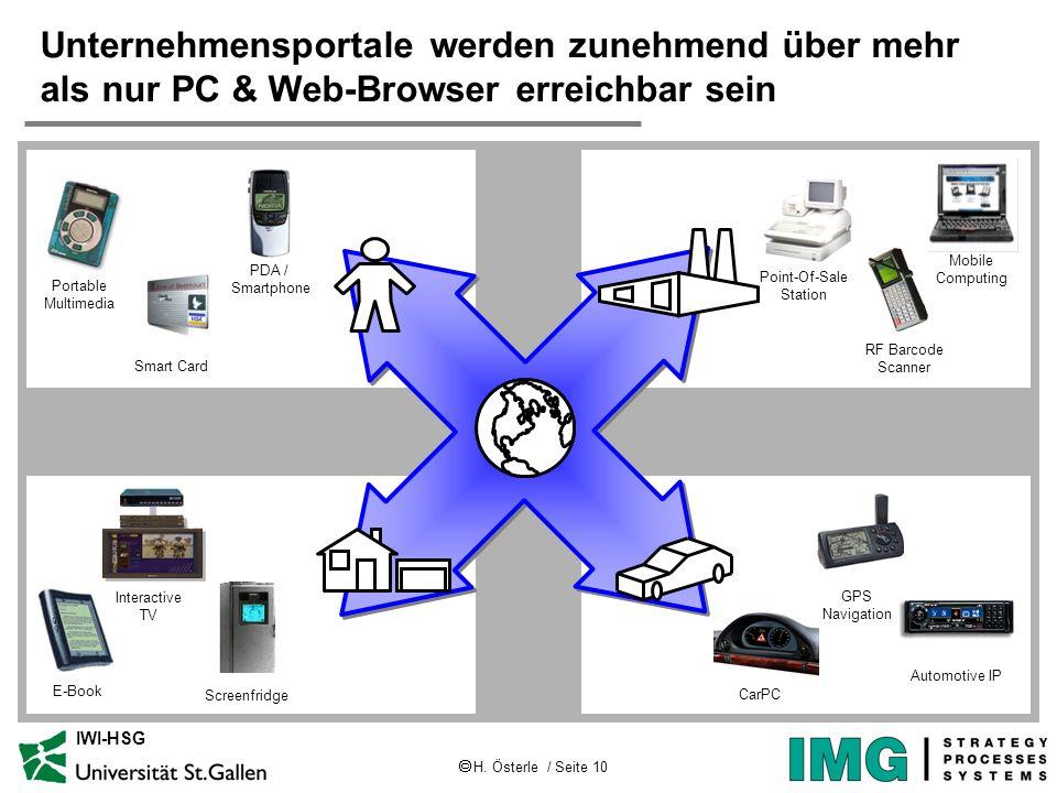 H. Österle / Seite 10 IWI-HSG Point-Of-Sale Station Unternehmensportale werden zunehmend über mehr als nur PC & Web-Browser erreichbar sein Mobile Com