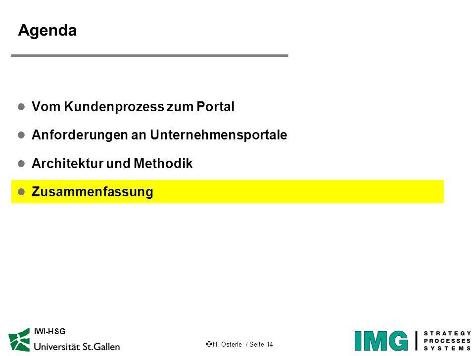 H. Österle / Seite 14 IWI-HSG Agenda l Vom Kundenprozess zum Portal l Anforderungen an Unternehmensportale l Architektur und Methodik l Zusammenfassun