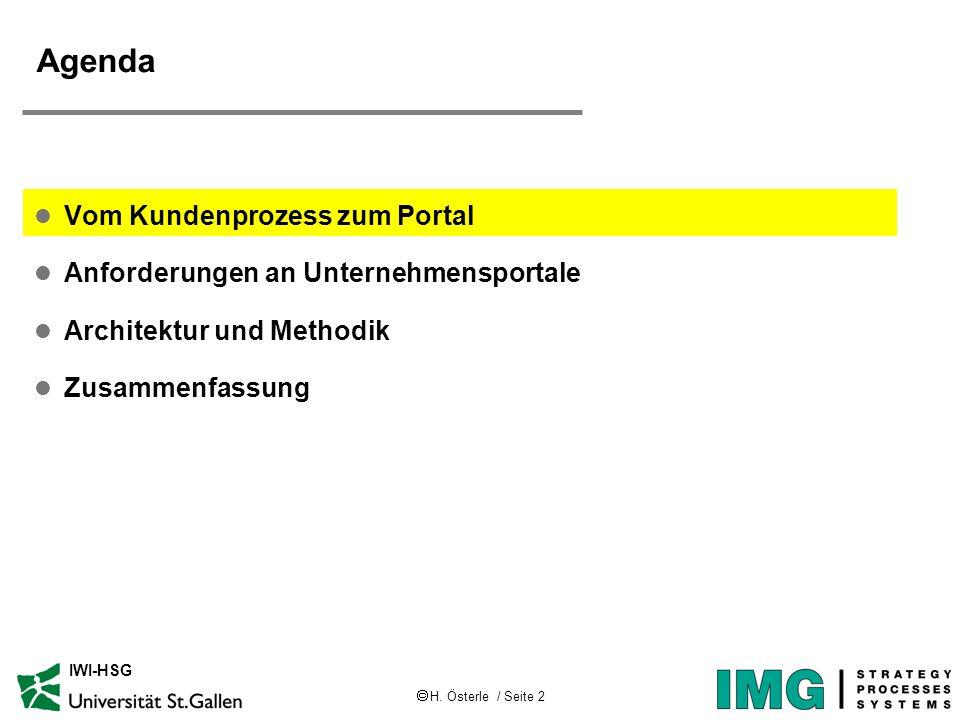 H. Österle / Seite 2 IWI-HSG Agenda l Vom Kundenprozess zum Portal l Anforderungen an Unternehmensportale l Architektur und Methodik l Zusammenfassung
