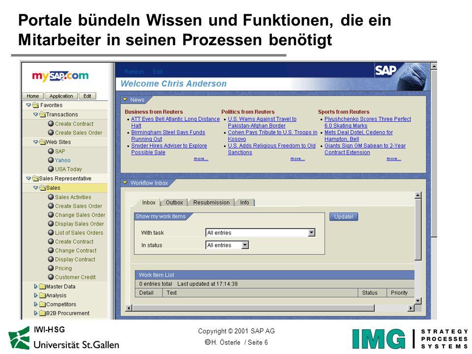 H. Österle / Seite 6 IWI-HSG Portale bündeln Wissen und Funktionen, die ein Mitarbeiter in seinen Prozessen benötigt Copyright © 2001 SAP AG