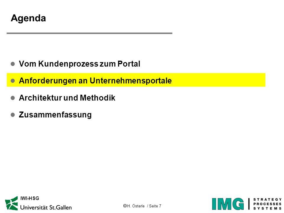 H. Österle / Seite 7 IWI-HSG Agenda l Vom Kundenprozess zum Portal l Anforderungen an Unternehmensportale l Architektur und Methodik l Zusammenfassung