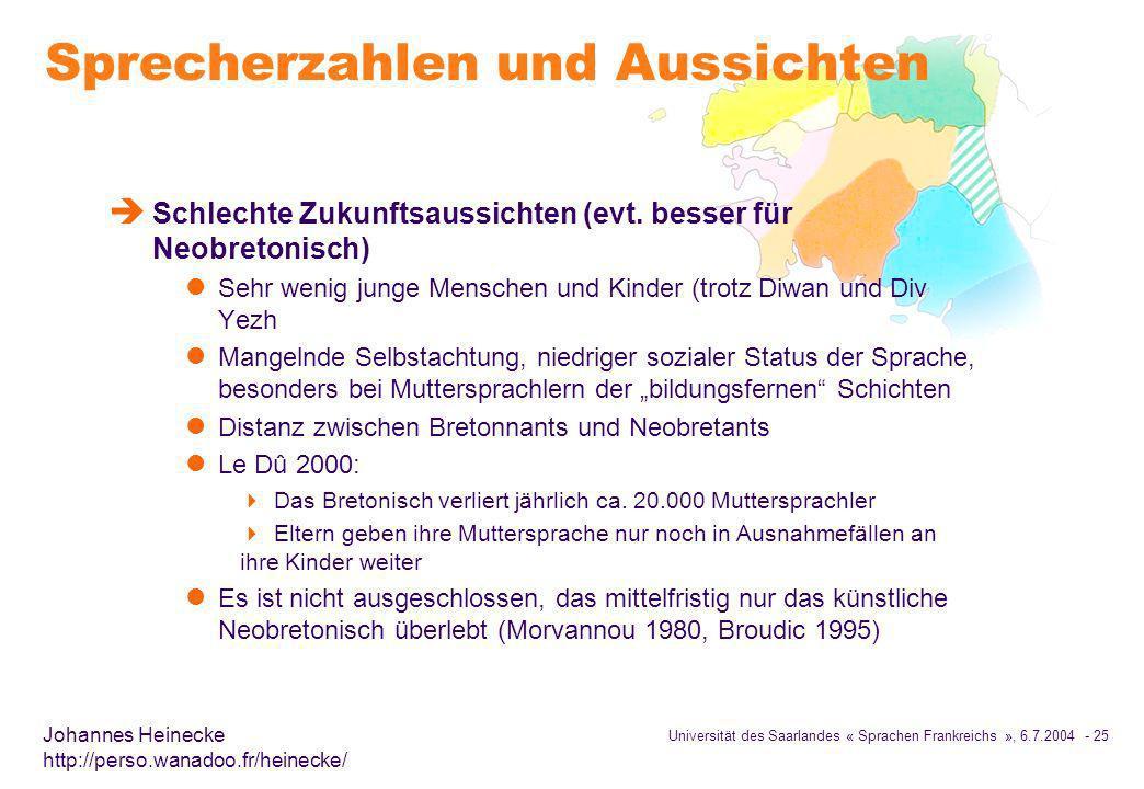 Universität des Saarlandes « Sprachen Frankreichs », 6.7.2004 - 25 Johannes Heinecke http://perso.wanadoo.fr/heinecke/ Sprecherzahlen und Aussichten è Schlechte Zukunftsaussichten (evt.