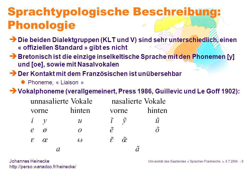 Universität des Saarlandes « Sprachen Frankreichs », 6.7.2004 - 10 Johannes Heinecke http://perso.wanadoo.fr/heinecke/ Konsonanten