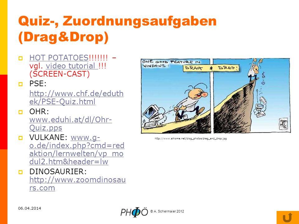 © A. Schermaier 2012 06.04.2014 Quiz-, Zuordnungsaufgaben (Drag&Drop) HOT POTATOES!!!!!!! – vgl. video tutorial !!! (SCREEN-CAST) HOT POTATOESvideo tu