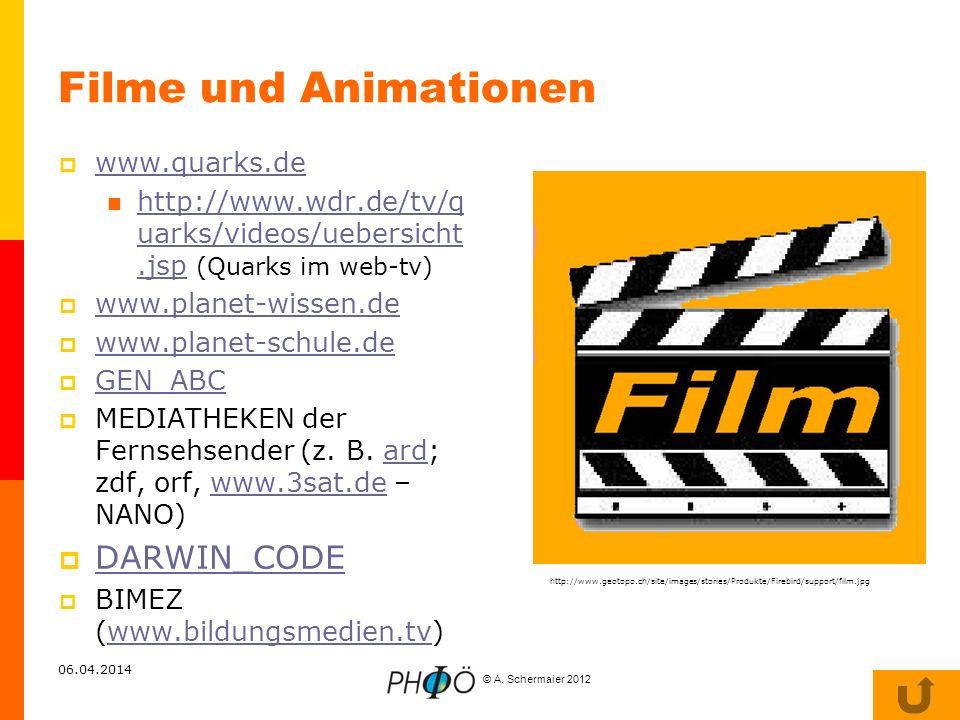 © A. Schermaier 2012 06.04.2014 Filme und Animationen www.quarks.de http://www.wdr.de/tv/q uarks/videos/uebersicht.jsp (Quarks im web-tv) http://www.w