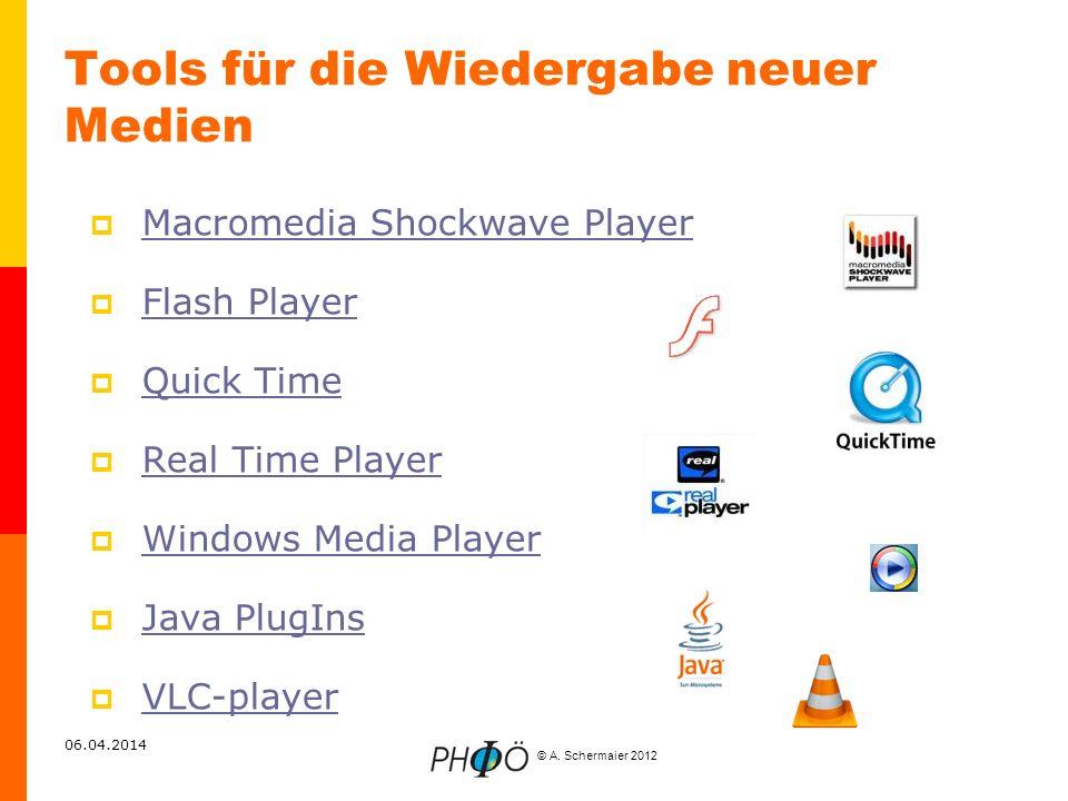© A. Schermaier 2012 06.04.2014 Tools für die Wiedergabe neuer Medien Macromedia Shockwave Player Flash Player Quick Time Real Time Player Windows Med