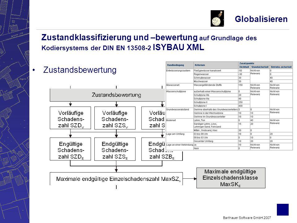 Barthauer Software GmbH 2007 Zustandsbewertung Globalisieren Zustandklassifizierung und –bewertung auf Grundlage des Kodiersystems der DIN EN 13508-2 ISYBAU XML