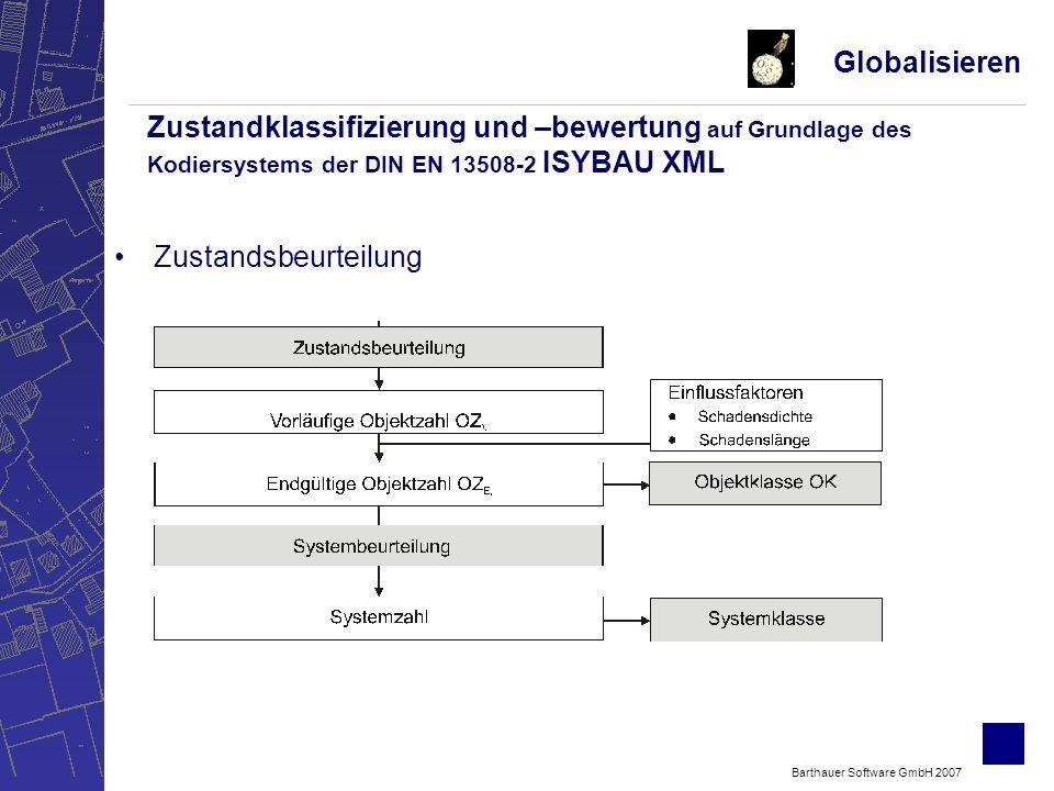 Barthauer Software GmbH 2007 Zustandsbeurteilung Globalisieren Zustandklassifizierung und –bewertung auf Grundlage des Kodiersystems der DIN EN 13508-2 ISYBAU XML
