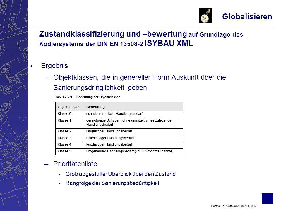 Barthauer Software GmbH 2007 Ergebnis –Objektklassen, die in genereller Form Auskunft über die Sanierungsdringlichkeit geben –Prioritätenliste -Grob abgestufter Überblick über den Zustand -Rangfolge der Sanierungsbedürftigkeit Globalisieren Zustandklassifizierung und –bewertung auf Grundlage des Kodiersystems der DIN EN 13508-2 ISYBAU XML