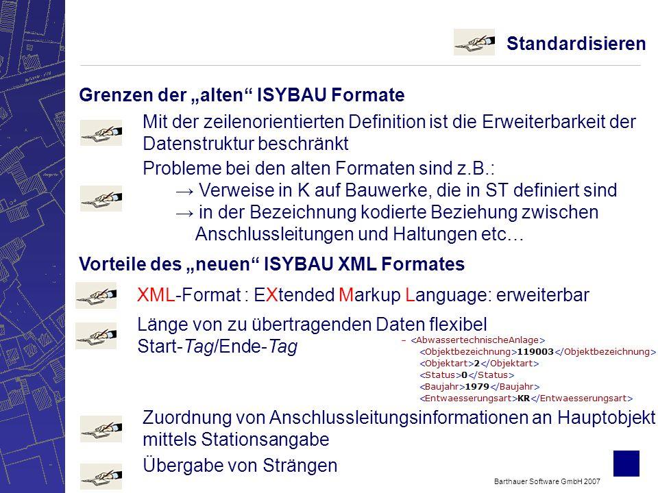 Barthauer Software GmbH 2007 Standardisieren Grenzen der alten ISYBAU Formate Mit der zeilenorientierten Definition ist die Erweiterbarkeit der Datenstruktur beschränkt Probleme bei den alten Formaten sind z.B.: Verweise in K auf Bauwerke, die in ST definiert sind in der Bezeichnung kodierte Beziehung zwischen Anschlussleitungen und Haltungen etc… Vorteile des neuen ISYBAU XML Formates Länge von zu übertragenden Daten flexibel Start-Tag/Ende-Tag Zuordnung von Anschlussleitungsinformationen an Hauptobjekt mittels Stationsangabe XML-Format : EXtended Markup Language: erweiterbar Übergabe von Strängen