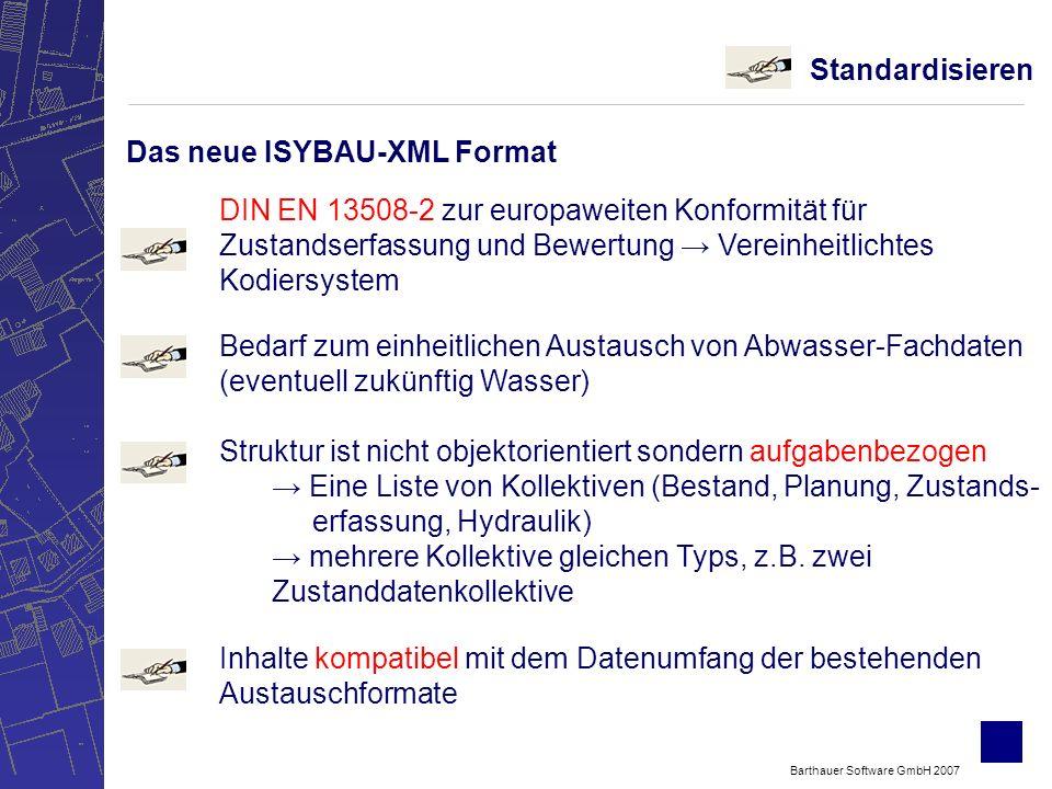 Barthauer Software GmbH 2007 Standardisieren Struktur ist nicht objektorientiert sondern aufgabenbezogen Eine Liste von Kollektiven (Bestand, Planung, Zustands- erfassung, Hydraulik) mehrere Kollektive gleichen Typs, z.B.