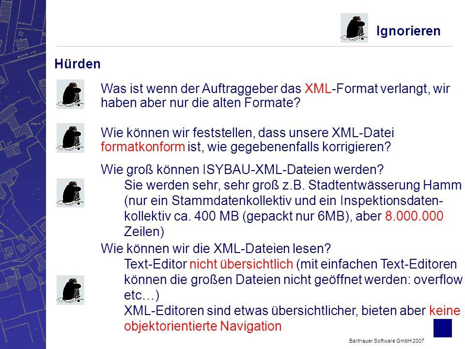 Barthauer Software GmbH 2007 Hürden Ignorieren Was ist wenn der Auftraggeber das XML-Format verlangt, wir haben aber nur die alten Formate.