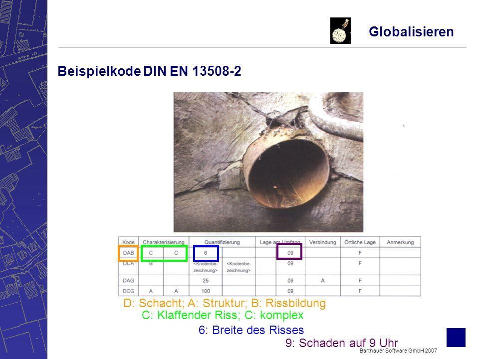 Barthauer Software GmbH 2007 –Hydraulische Zustandsbewertung -Vergleich der erforderlichen und der vorhandenen Leistungsfähigkeit des Kanalnetzes –Bautechnische Zustandsklassifizierung und -Bewertung -Zustandsklassifizierung (Einzelzustand) - auf Grundlage Entwurf DWA-M 149-3 - -Zustandsbewertung (Randbedingungen des Einzelzustandes) -Zustandsbeurteilung (Beurteilung des Objektes) Globalisieren Zustandklassifizierung und –bewertung auf Grundlage des Kodiersystems der DIN EN 13508-2 nach ISYBAU XML
