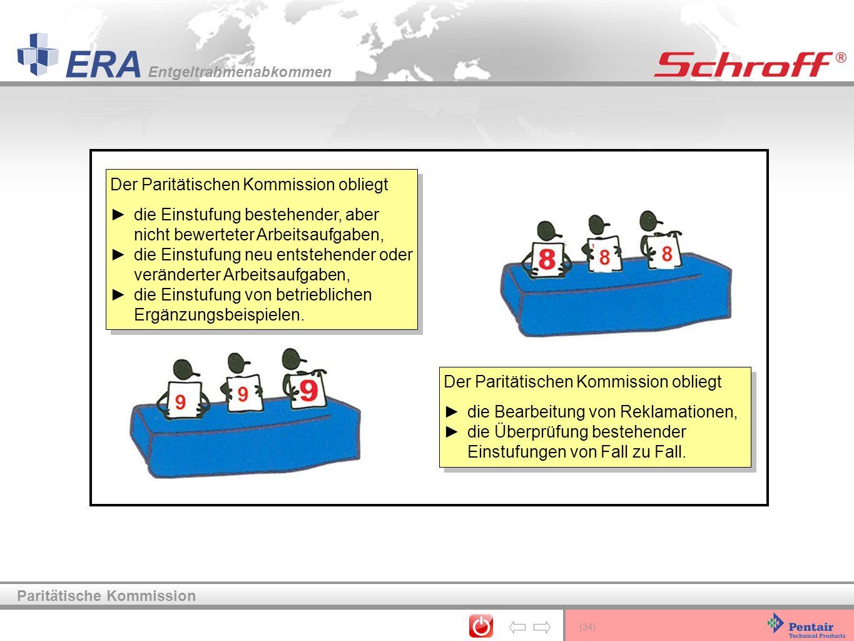 (34) ERA Entgeltrahmenabkommen Paritätische Kommission Der Paritätischen Kommission obliegt die Einstufung bestehender, aber nicht bewerteter Arbeitsa