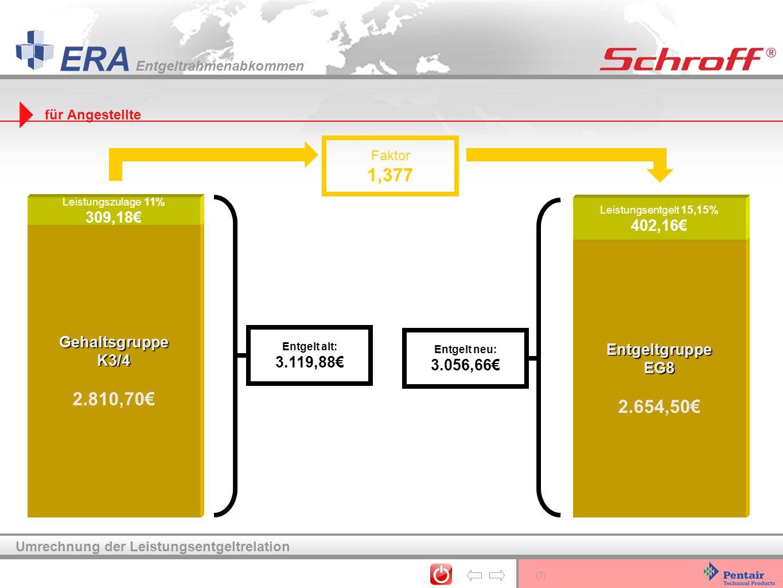 (7) ERA Entgeltrahmenabkommen Umrechnung der Leistungsentgeltrelation Gehaltsgruppe K3/4 2.810,70 Leistungszulage 11% 309,18 Faktor 1,377 Entgeltgrupp