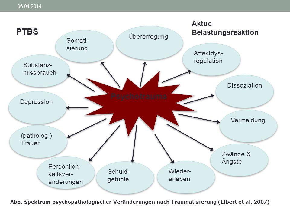 Psychotrauma Übererregung Affektdys- regulation Affektdys- regulation Dissoziation Wieder- erleben Schuld- gefühle Schuld- gefühle Substanz- missbrauc