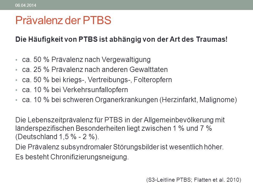 Prävalenz der PTBS Die Häufigkeit von PTBS ist abhängig von der Art des Traumas! ca. 50 % Prävalenz nach Vergewaltigung ca. 25 % Prävalenz nach andere