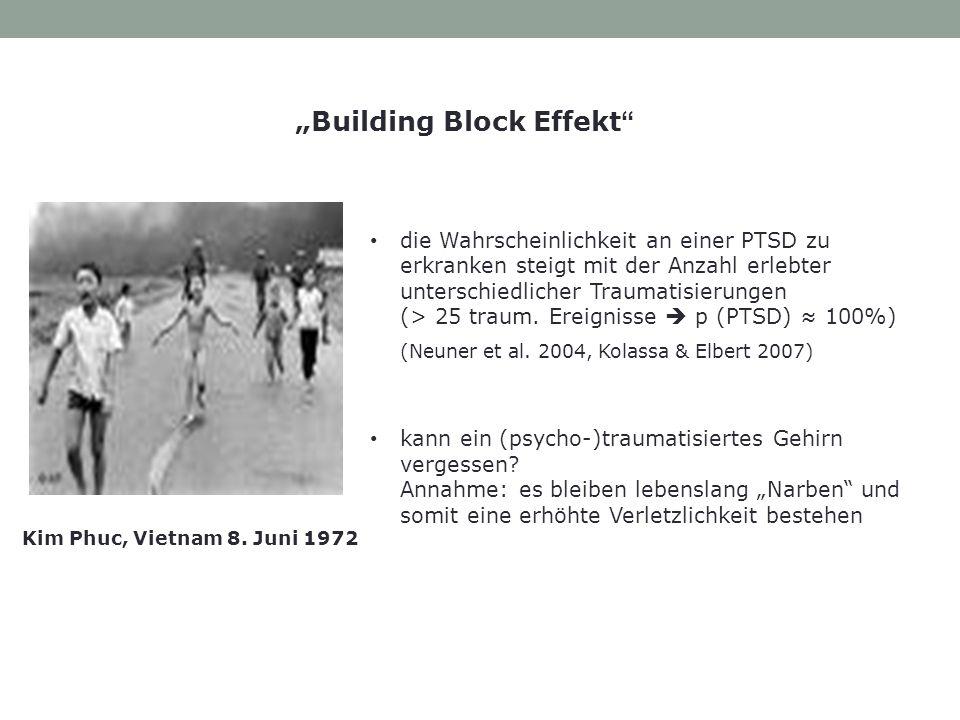 die Wahrscheinlichkeit an einer PTSD zu erkranken steigt mit der Anzahl erlebter unterschiedlicher Traumatisierungen (> 25 traum. Ereignisse p (PTSD)