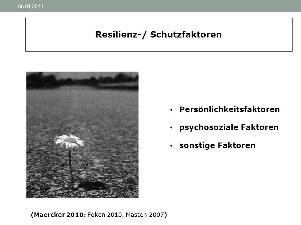 06.04.2014 Resilienz-/ Schutzfaktoren Persönlichkeitsfaktoren psychosoziale Faktoren sonstige Faktoren (Maercker 2010: Foken 2010, Masten 2007)