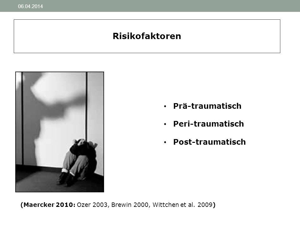 06.04.2014 Risikofaktoren Prä-traumatisch Peri-traumatisch Post-traumatisch (Maercker 2010: Ozer 2003, Brewin 2000, Wittchen et al. 2009)