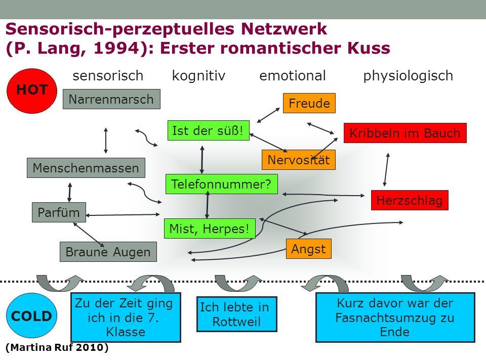Sensorisch-perzeptuelles Netzwerk (P. Lang, 1994): Erster romantischer Kuss sensorischkognitivphysiologischemotional Narrenmarsch Menschenmassen Braun
