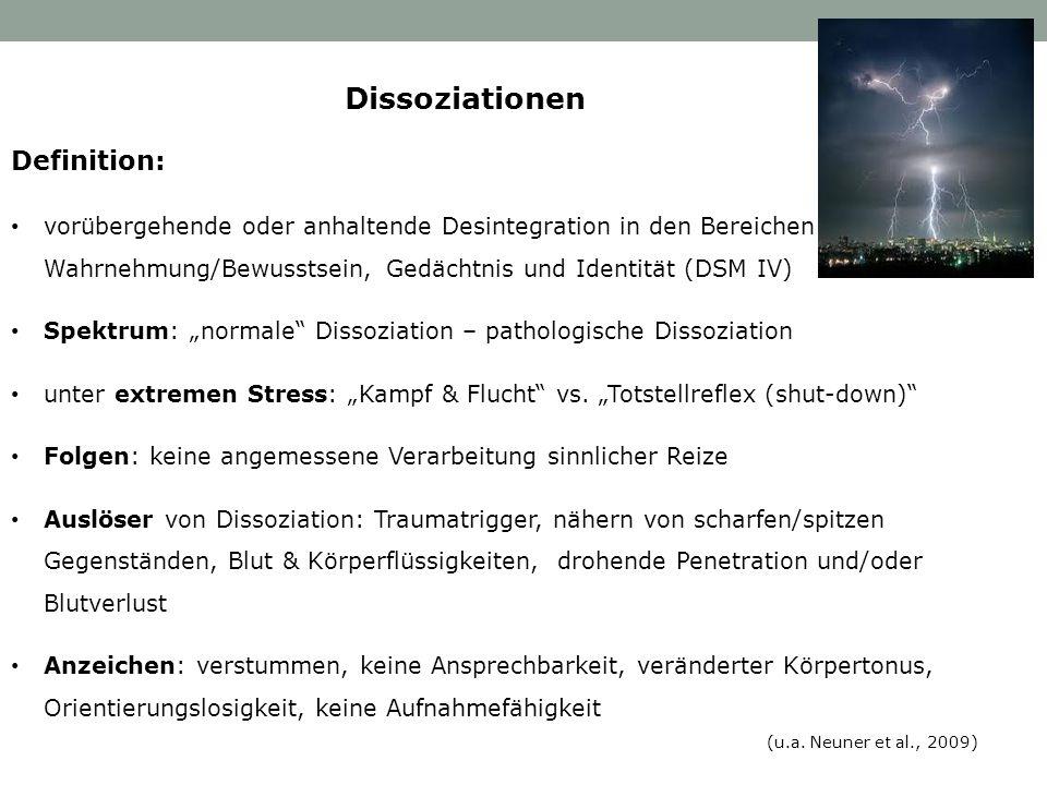 Definition: vorübergehende oder anhaltende Desintegration in den Bereichen Wahrnehmung/Bewusstsein, Gedächtnis und Identität (DSM IV) Spektrum: normal