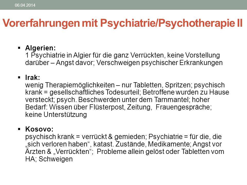 06.04.2014 Vorerfahrungen mit Psychiatrie/Psychotherapie II Algerien: 1 Psychiatrie in Algier für die ganz Verrückten, keine Vorstellung darüber – Ang