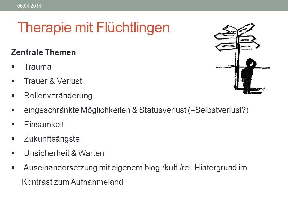 Therapie mit Flüchtlingen 06.04.2014 Zentrale Themen Trauma Trauer & Verlust Rollenveränderung eingeschränkte Möglichkeiten & Statusverlust (=Selbstve