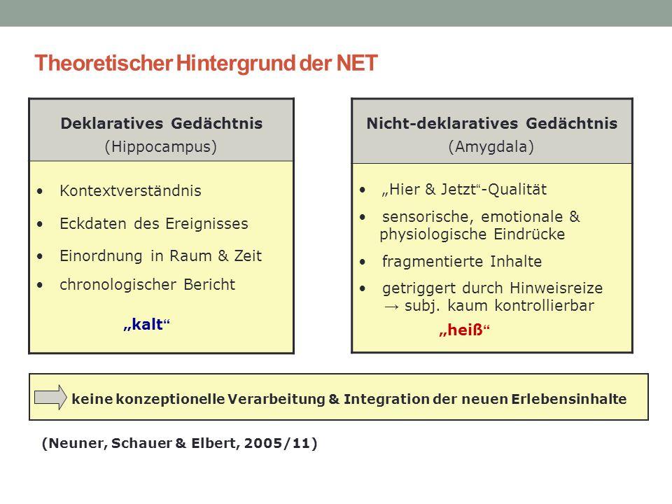 Theoretischer Hintergrund der NET Deklaratives Gedächtnis (Hippocampus) Kontextverständnis Eckdaten des Ereignisses Einordnung in Raum & Zeit chronolo