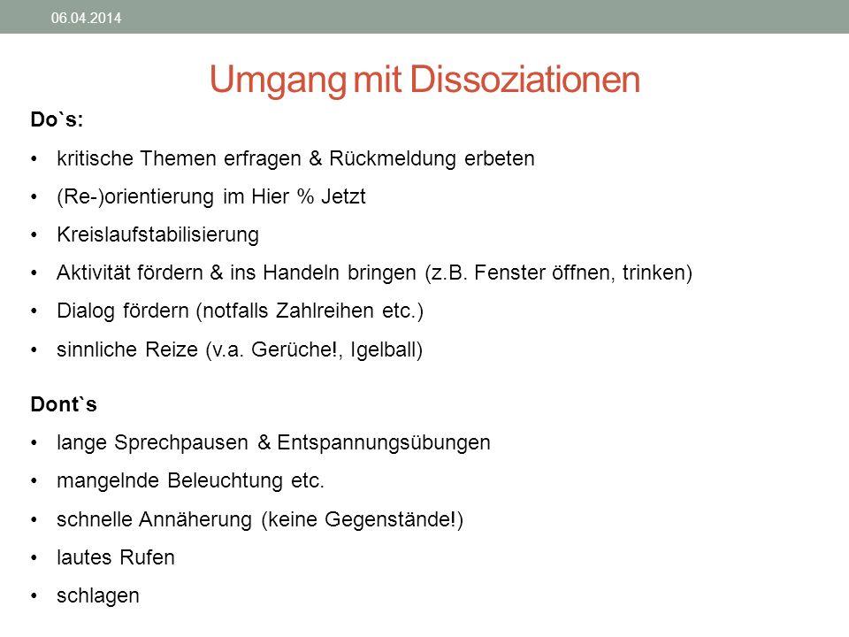 Umgang mit Dissoziationen 06.04.2014 Do`s: kritische Themen erfragen & Rückmeldung erbeten (Re-)orientierung im Hier % Jetzt Kreislaufstabilisierung A