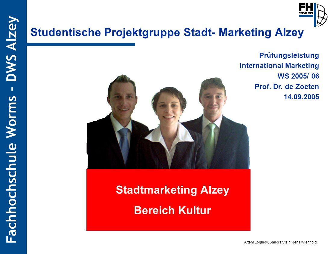 Artem Loginov, Sandra Stein, Jens Wienhold Fachhochschule Worms – DWS Alzey Studentische Projektgruppe Stadt- Marketing Alzey Prüfungsleistung Interna