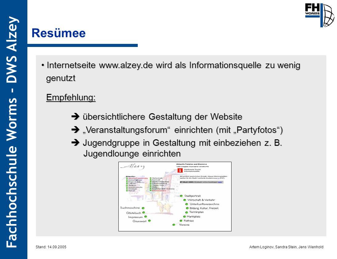 Artem Loginov, Sandra Stein, Jens Wienhold Fachhochschule Worms – DWS Alzey Resümee Stand: 14.09.2005 Internetseite www.alzey.de wird als Informations