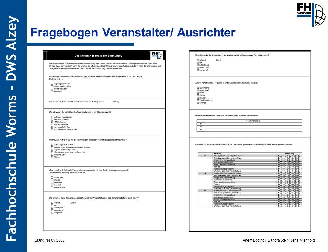Artem Loginov, Sandra Stein, Jens Wienhold Fachhochschule Worms – DWS Alzey Fragebogen Veranstalter/ Ausrichter Stand: 14.09.2005