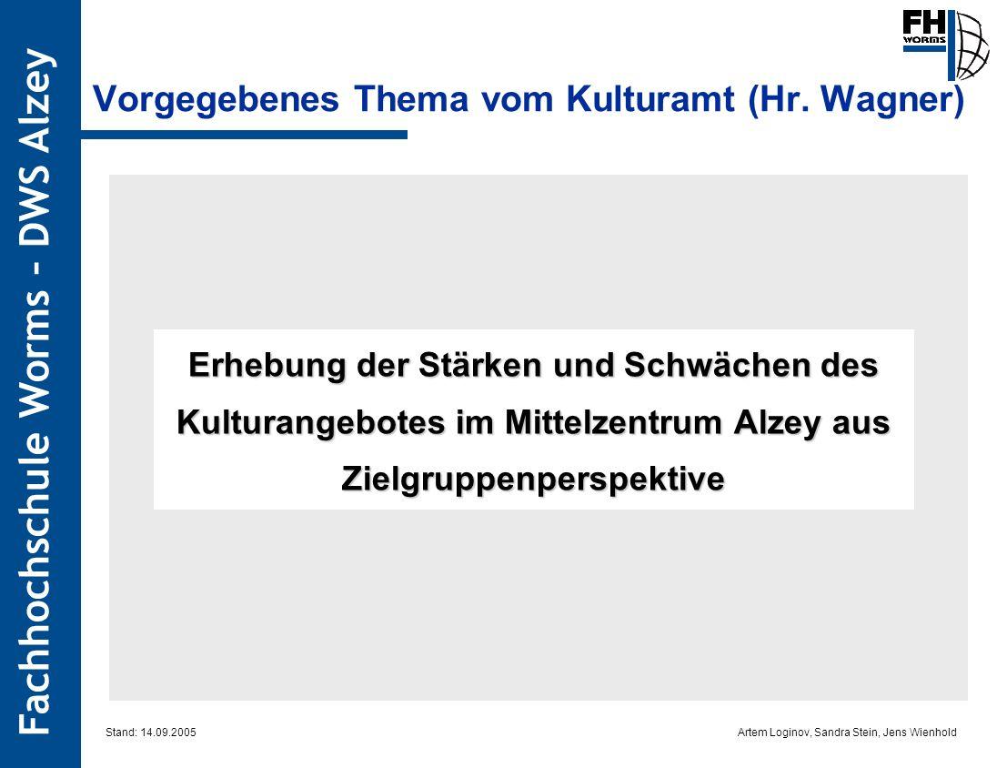 Artem Loginov, Sandra Stein, Jens Wienhold Fachhochschule Worms – DWS Alzey Vorgegebenes Thema vom Kulturamt (Hr. Wagner) Erhebung der Stärken und Sch