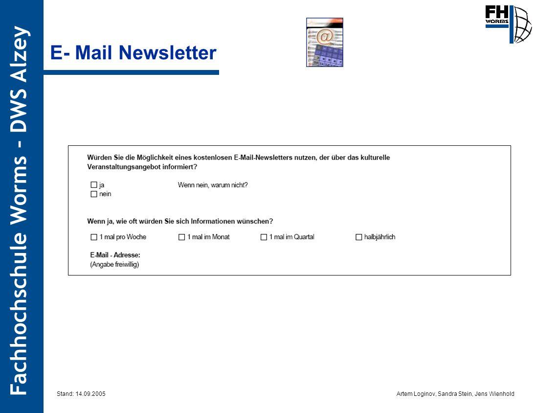Artem Loginov, Sandra Stein, Jens Wienhold Fachhochschule Worms – DWS Alzey E- Mail Newsletter Stand: 14.09.2005