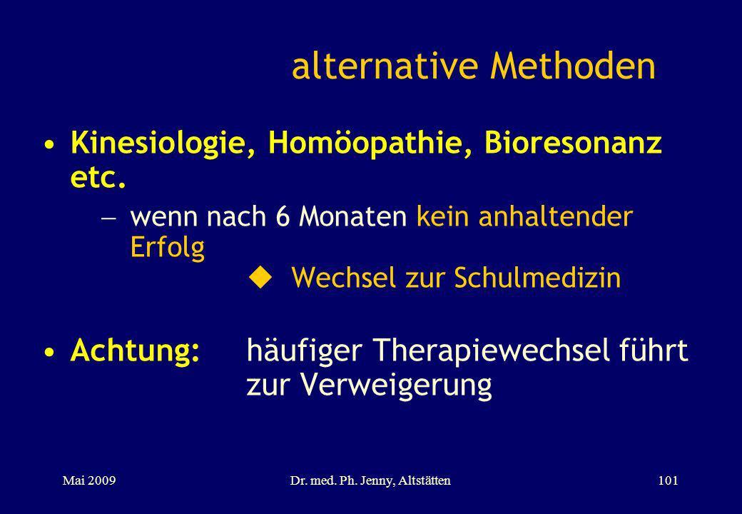 alternative Methoden Kinesiologie, Homöopathie, Bioresonanz etc. wenn nach 6 Monaten kein anhaltender Erfolg Wechsel zur Schulmedizin Achtung:häufiger