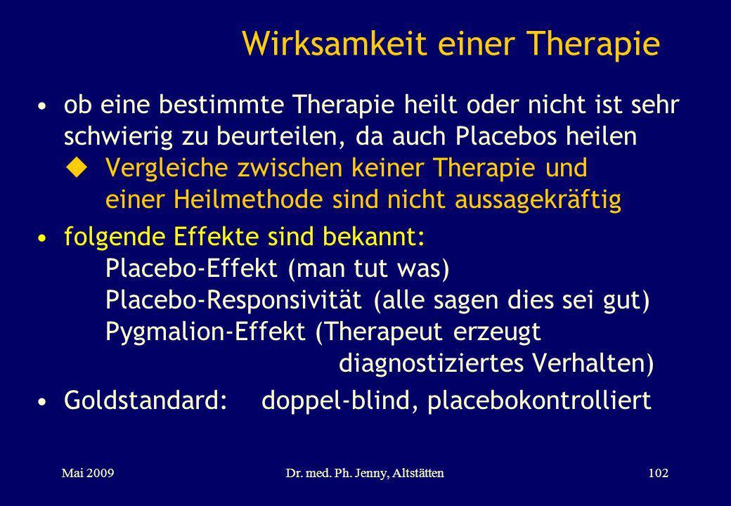 Wirksamkeit einer Therapie ob eine bestimmte Therapie heilt oder nicht ist sehr schwierig zu beurteilen, da auch Placebos heilen Vergleiche zwischen k