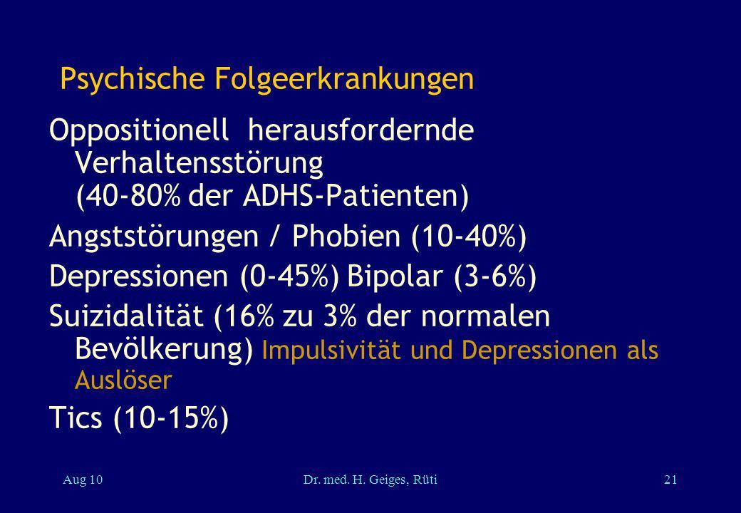 Psychische Folgeerkrankungen Oppositionell herausfordernde Verhaltensstörung (40-80% der ADHS-Patienten) Angststörungen / Phobien (10-40%) Depressione