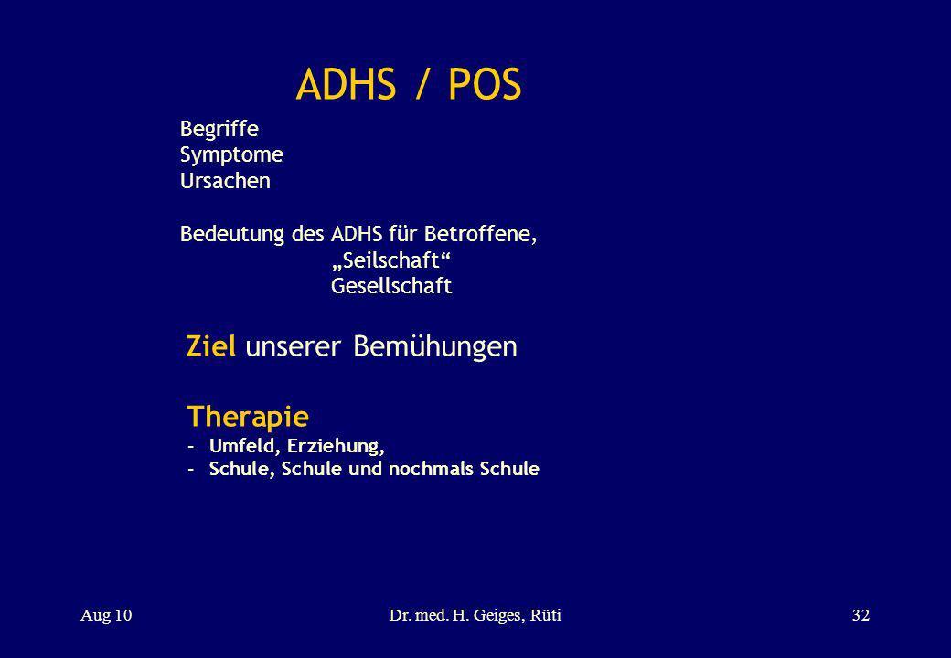 ADHS / POS Begriffe Symptome Ursachen Bedeutung des ADHS für Betroffene, Seilschaft Gesellschaft Ziel unserer Bemühungen Therapie –Umfeld, Erziehung,