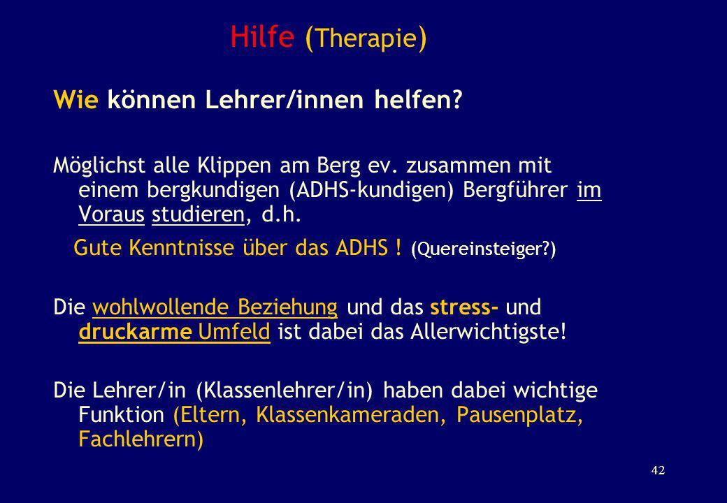 Hilfe ( Therapie ) Wie können Lehrer/innen helfen? Möglichst alle Klippen am Berg ev. zusammen mit einem bergkundigen (ADHS-kundigen) Bergführer im Vo