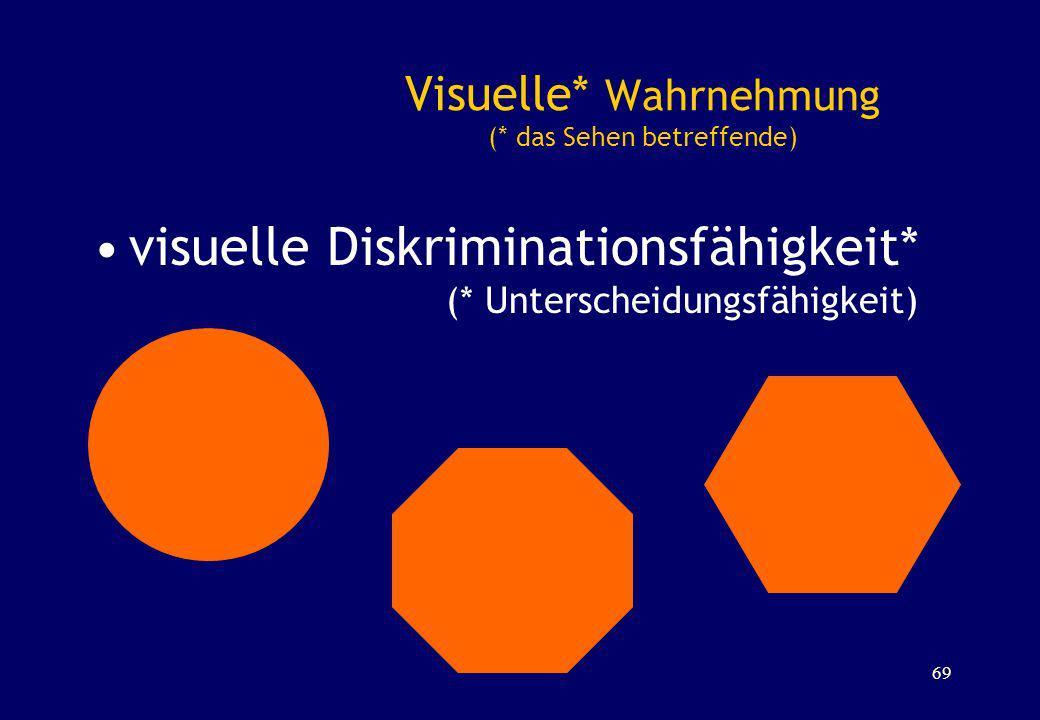 Visuelle* Wahrnehmung (* das Sehen betreffende) visuelle Diskriminationsfähigkeit* (* Unterscheidungsfähigkeit) 69