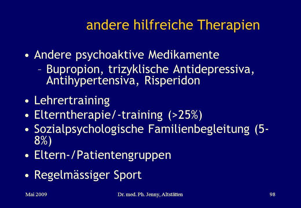andere hilfreiche Therapien Andere psychoaktive Medikamente –Bupropion, trizyklische Antidepressiva, Antihypertensiva, Risperidon Lehrertraining Elter
