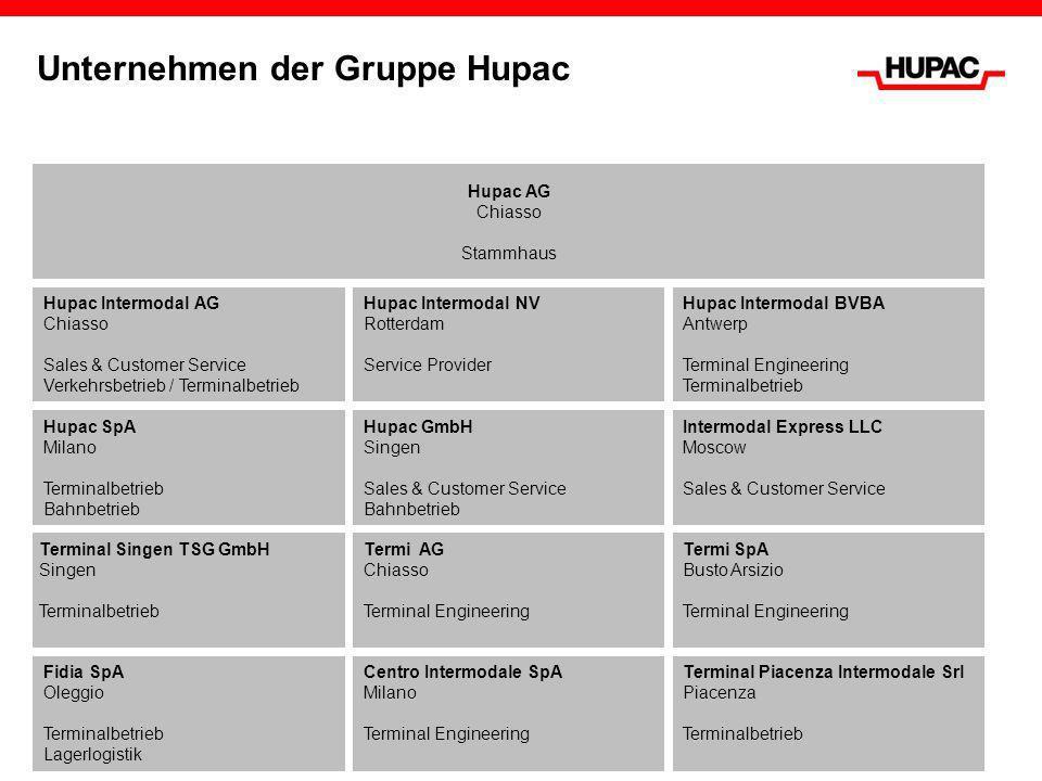 Unternehmen der Gruppe Hupac Hupac AG Chiasso Stammhaus Terminal Singen TSG GmbH Singen Terminalbetrieb Hupac Intermodal NV Rotterdam Service Provider