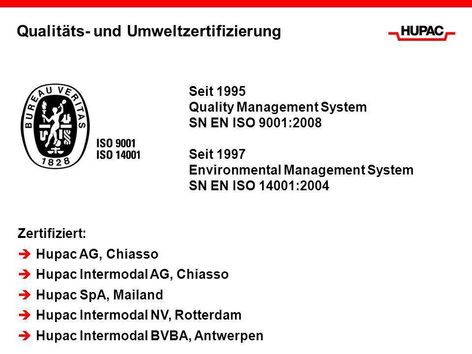 Qualitäts- und Umweltzertifizierung Seit 1995 Quality Management System SN EN ISO 9001:2008 Seit 1997 Environmental Management System SN EN ISO 14001: