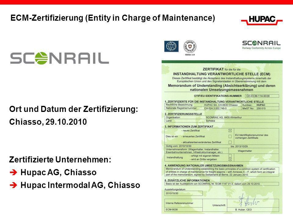 ECM-Zertifizierung (Entity in Charge of Maintenance) Ort und Datum der Zertifizierung: Chiasso, 29.10.2010 Zertifizierte Unternehmen: Hupac AG, Chiass