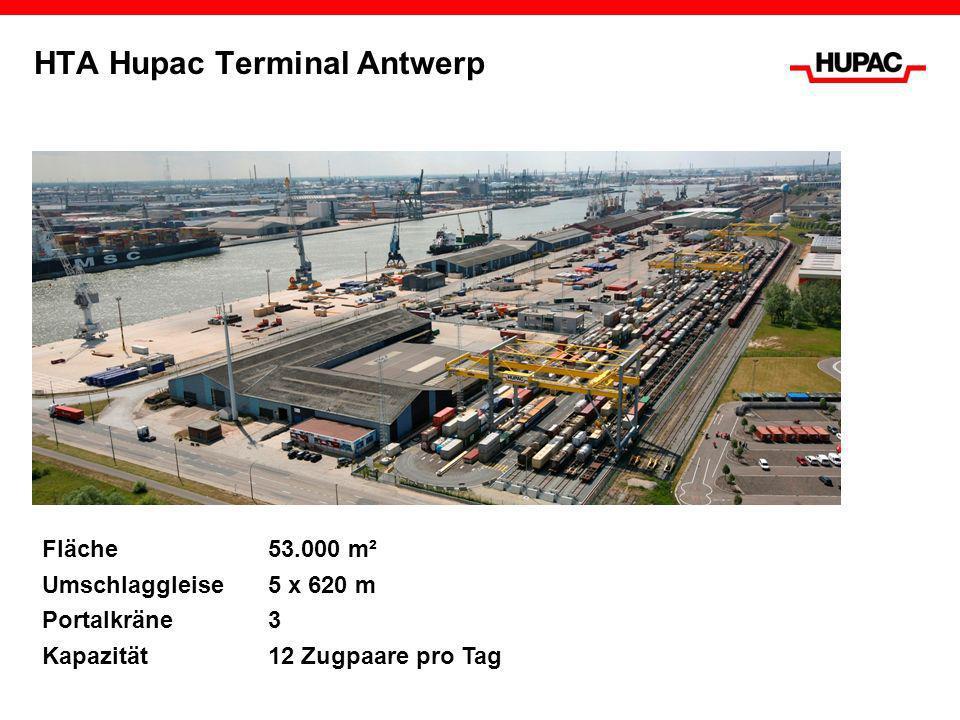 HTA Hupac Terminal Antwerp Fläche53.000 m² Umschlaggleise 5 x 620 m Portalkräne 3 Kapazität12 Zugpaare pro Tag