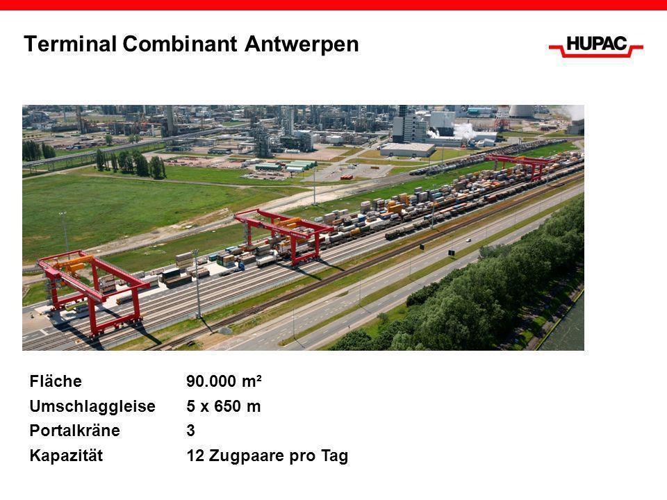 Terminal Combinant Antwerpen Fläche90.000 m² Umschlaggleise 5 x 650 m Portalkräne 3 Kapazität12 Zugpaare pro Tag
