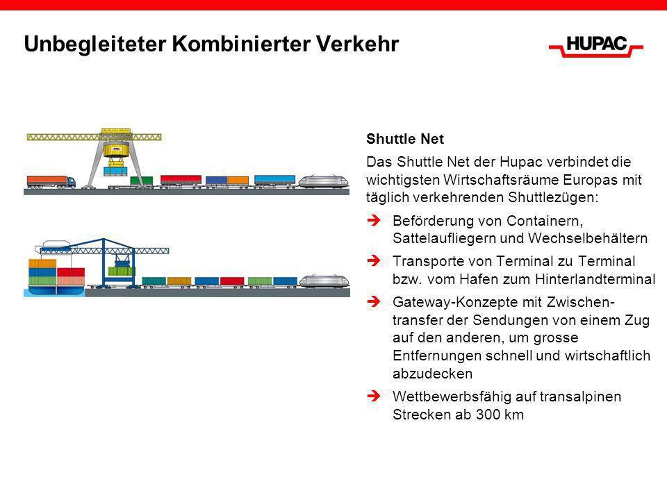 Unbegleiteter Kombinierter Verkehr Shuttle Net Das Shuttle Net der Hupac verbindet die wichtigsten Wirtschaftsräume Europas mit täglich verkehrenden S