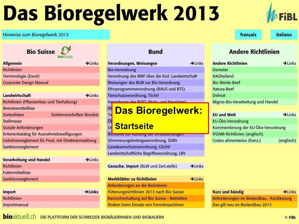 Das Bioregelwerk: Startseite