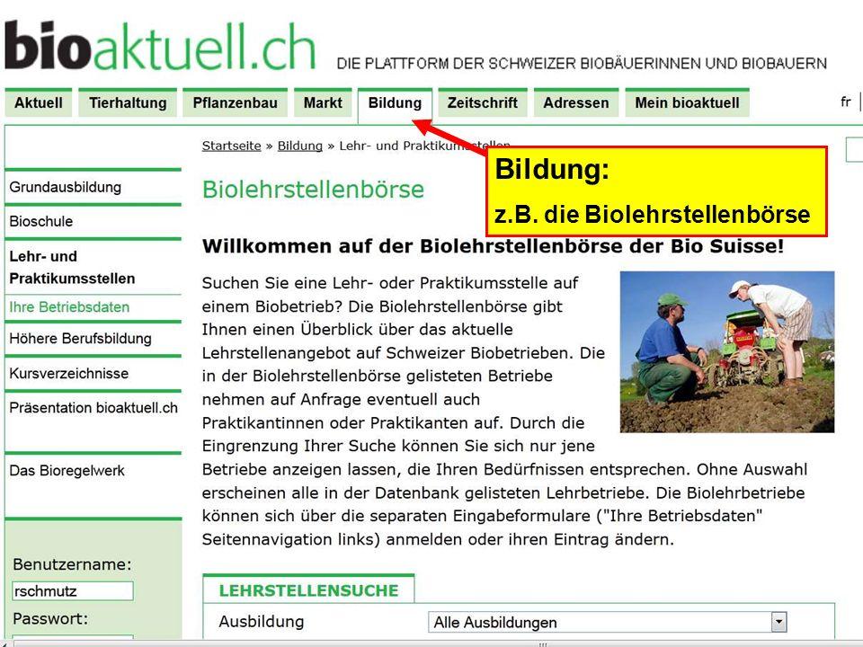 Bildung: z.B. die Biolehrstellenbörse